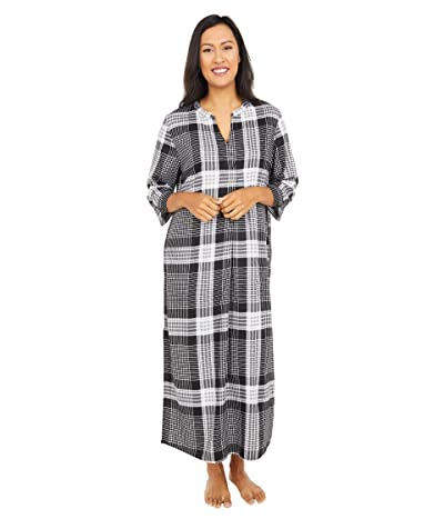 Donna Karan Flannel Maxi Sleepwear Sleepshirt (Black Plaid) Women