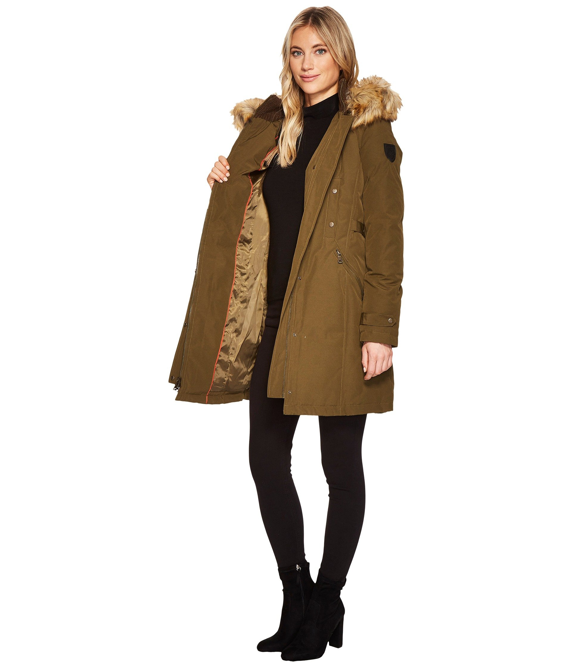 Vince camuto faux fur trim hooded down parka