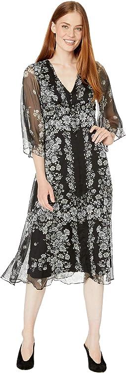 Bell Sleeve Mini Floral Chiffon Midi Dress