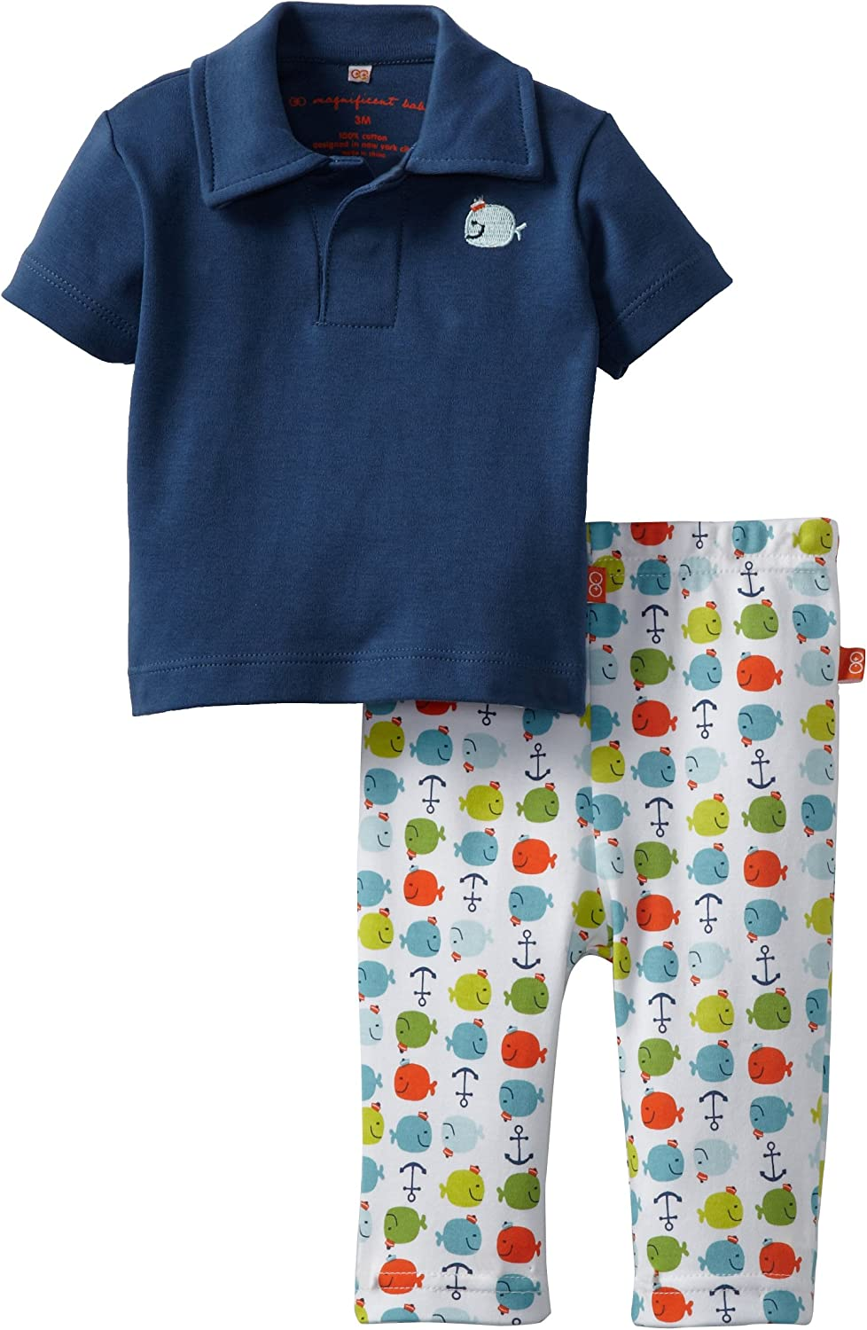 Magnificent Baby-Boys Newborn Polo Shirt And Pant, Navy Blue, 6 Months
