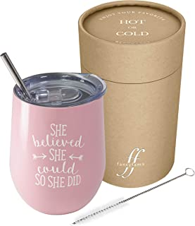 She Believed She Could So She Did - 12 oz Stainless Steel Stemless Wine Tumbler with Lid and Straw – Congratulations, Graduation, Promotion, Going Away, Job Change, Congrats Gift (Pink)