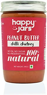 Happy Jars 100% Natural Peanut Butter - Chilli Chutney (Savory) | Ideal with Poha, Paratha, Cheela, Dosa, Idli | Can be Used to Make Delicious dips and Thai Dishes