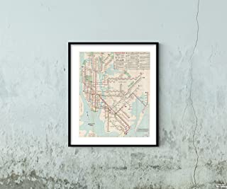 Map|New York City Transit s, NYC Rapid Transit 1969 Transit/RR|Historic Antique Vintage Reprint|Size: 20x24|Ready to Frame