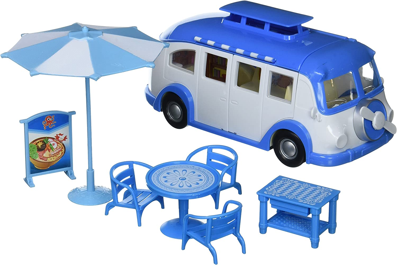 Velocity Toys Good Seafood Food Truck  Designable Toy Food Truck w  Outdoor Tables, Dish Food Replicas, & Design Stickers