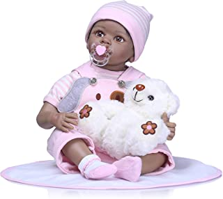 iCradle Real Life 22 inch 55cm Reborn Baby Girl Dolls Nurturing Soft Silicone Realistic Looking Newborn Dolls Black Skin Indian African Style Baby Doll Toy for Ages 3+