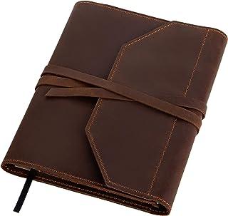 $74 » Sponsored Ad - KRNY Handmade Genuine Crazy Horse Leather Organizer Sketchbook Writing Notebook Portfolio Refillable Case w...