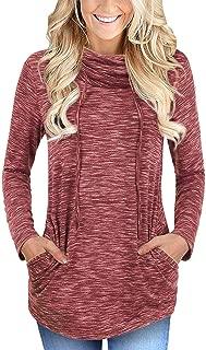 Women's Cowl Neck Tops Long Sleeve Tunic Drawstring Blouse Pullover Sweatshirt with Kangaroo Pockets