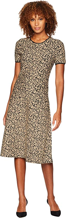 Lurex Jacquard Short Sleeve Dress