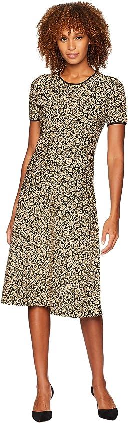 Lurex Jacquard Short Sleeve Dress