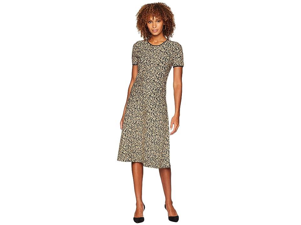 MICHAEL Michael Kors Lurex Jacquard Short Sleeve Dress (Black/Gold) Women