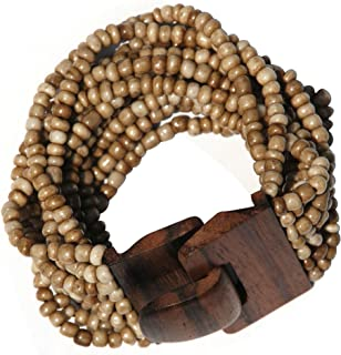 "Antique Dark Bone White Beaded Bali Bracelet With Hard Wood Buckle Clasp - 14 Elastic Strands – 2"" Wide"