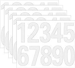 Meetory 50 stuks reflecterende brievenbus nummers sticker zelfklevende vinyl waterdichte nummer sticker nummers 0-9 voor b...