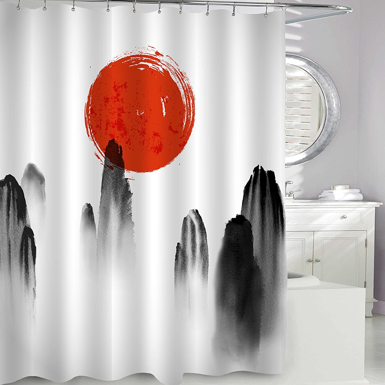 染料ジャンルクモMitoVilla 高級 シャワー カーテン 赤い太陽 山峰 和風 バスルーム カーテン おしゃれ 綺麗 浴室 防水 防カビ加工 洗面所 間仕切り 目隠し用 取付簡単 150×180 cm