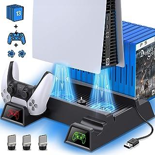 حامل Kydlan PS5 مع مروحة تبريد لوحدة تحكم PS5، حامل رأسي لجهاز PS5 مع مروحة تبريد وشاحن التحكم، وحدة شحن مزدوجة مع 3 محور ...