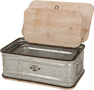 Glitzhome Farmhouse Set Metal/Wooden Box Galvanized Storage Chests Small and Large