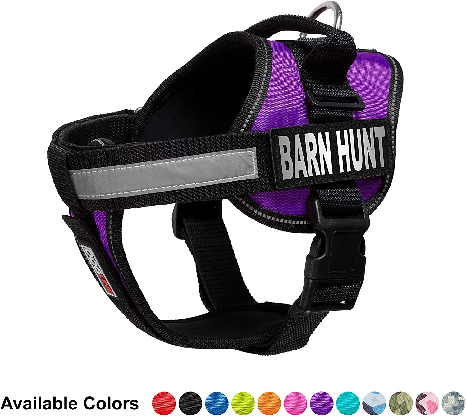 Dogline Vest Harness for Dogs and 2 Removable Barn Hunt Patches, Small 18 to 25 , Purple