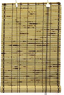 Seta Direct, Natural Bamboo Slat Tortoise Shell Roll Up Window Blind 30-Inch Wide by 72-Inch Length