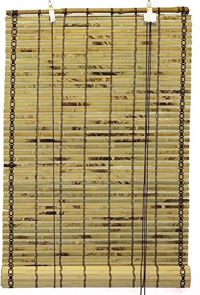 Seta Direct Natural Bamboo Slat Tortoise Shell Roll Up Window Blind 96 Inch Wide By 66 Inch Length