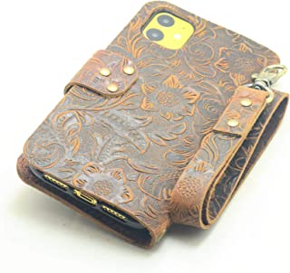 JJNUSA Handmade Genuine Distressed Leather Wallet Case for iPhone 11 6.1 inches Flip Cover with Wristlet Brown