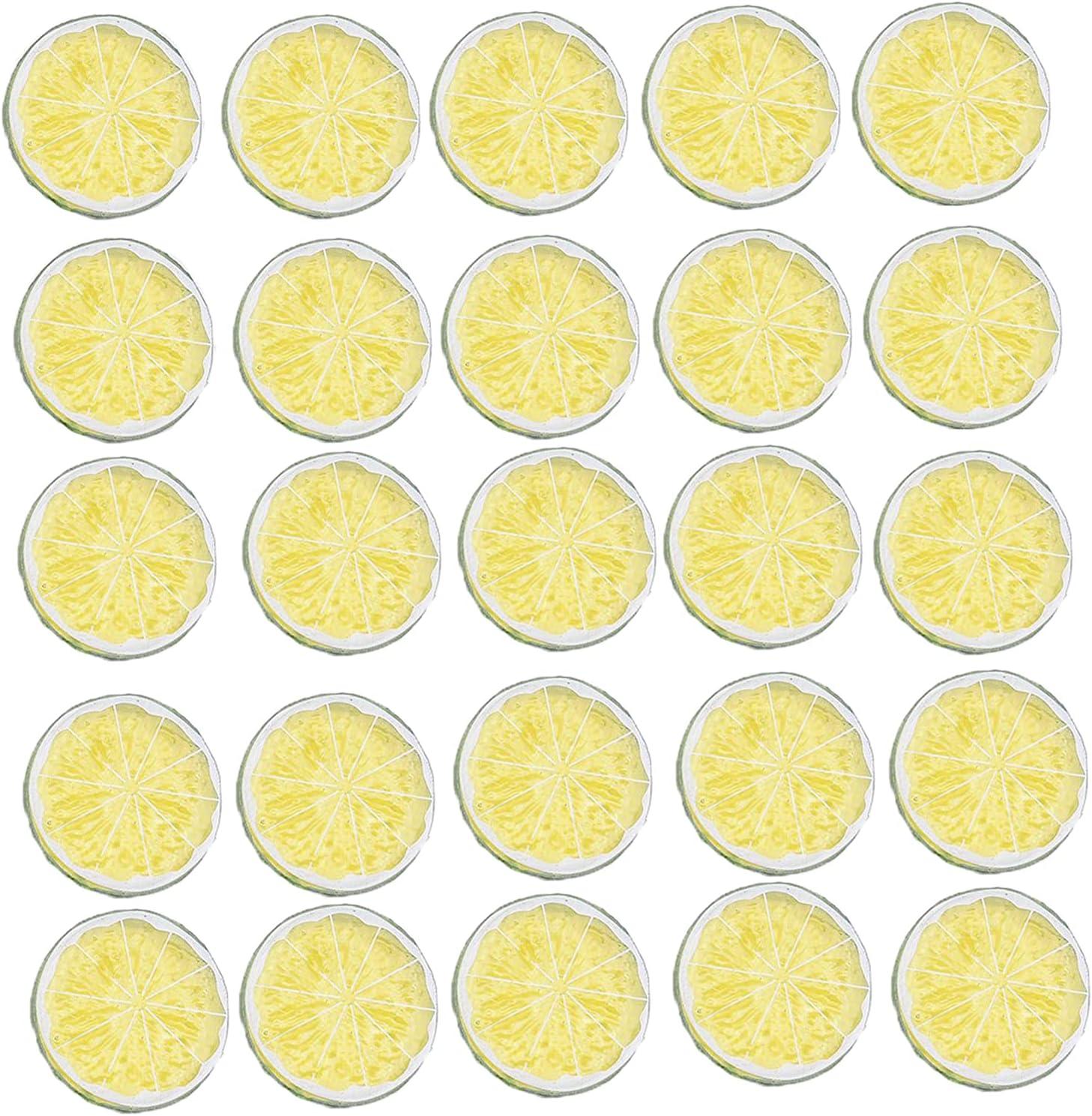 25 Pcs Simulation Lemon High material Slices Fake Fruit Artificial outlet Party Model