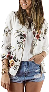 ECOWISH Women's Casual Floral Zip Up Bomber Jacket Coat Stand Collar Lightweight Short Outwear Tops
