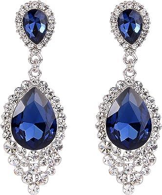 Clearine Femme Boucles d'Oreilles Vintage Pendant Bijou Mariage Soirée Cristal Autrichien Double Goutte d'Eau Ton d'Argent Bleu Profond