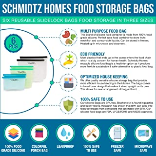 Schmidtz Homes Silicone Food Storage Bag (6) Reusable Slidelock Bags (3 Sizes) Eco-Friendly Leakproof Freezer and Microwave Safe BPA free FDA LFGB ROHS and MSDS Approved Safe Food Container
