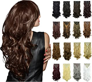 FESHFEN 20Inch 7Pcs 16Clips Full Head Clip in Hair Extensions Long Curly Synthetic Hair Extensions Hairpieces for Women 130g