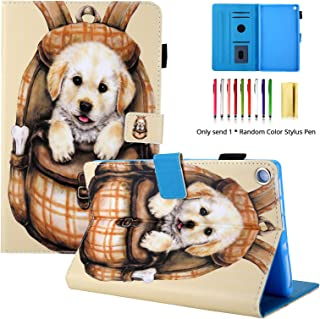 LittleMax Fire HD 8 Case,Cute Design Flip Folio Stand Case Auto Wake/Sleep Cover for Amazon Fire HD 8 Inch 8th Gen 2018 / 7th Gen 2017 Release - Dog