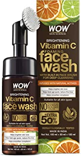 WOW Skin Science Brightening Vitamin C Foaming Face Wash with Built-In Face Brush for Deep Cleansing - No Parabens, Sulpha...