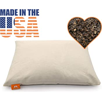 """PineTales®, Japanese Size 14"""" x 20"""", Basic Organic Buckwheat Pillow made with Extra Breathable and Durable Unbleached Cotton Twill, 100% Chemical Free, Handmade in Phoenix, AZ"""