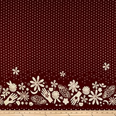 Cotton + Steel Moonrise Rayon Challis Bandana Fabric, Wine, Fabric By The Yard
