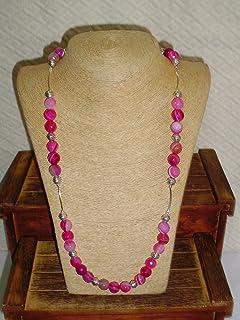 Collar largo de ágata color rosa facetada en Plata largo 100 cm y cerrado 50 cm.
