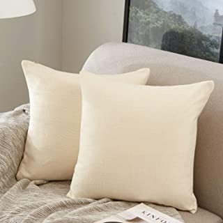 MERNETTE Pack of 2, Cotton Linen Blend Decorative Square Throw Pillow Cover Cushion Covers Pillowcase, Home Decor Decorations for Sofa Couch Bed Chair 18x18 Inch/45x45 cm (Cream)