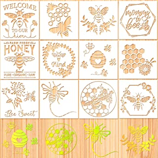 12 Pieces Bee Stencil Template Honeycomb Honey Stencils Reusable Mylar DIY Bee Sweet Template Welcome to Our Stencils for ...