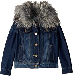 Denim Jacket with Faux Fur Collar (Little Kids)
