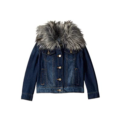 Splendid Littles Denim Jacket with Faux Fur Collar (Little Kids) (Medium Stone) Girl