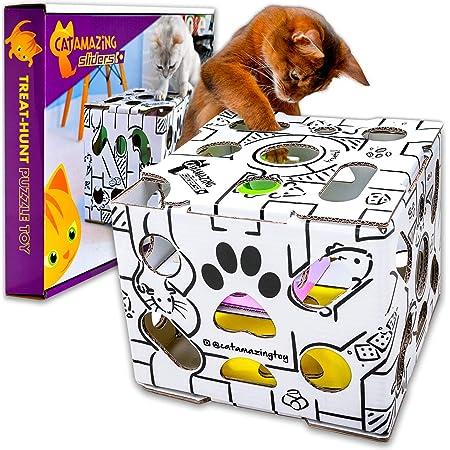 Cat Amazing Sliders –Interactive Treat Puzzle Cat Toy –Active Food Puzzle Feeder