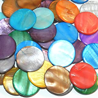 MPX1619 Assorted Color Mother of Pearl 30mm Flat Round Coin Gemstone Shell Beads 48-Count for DIY Arts, Crafts, Beading & Jewelry Making