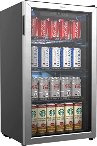 hOmeLabs Beverage Refrigerator and Cooler - 120 Can Mini Fridge with Glass Door for Soda Beer or Wine - Small Drink D...
