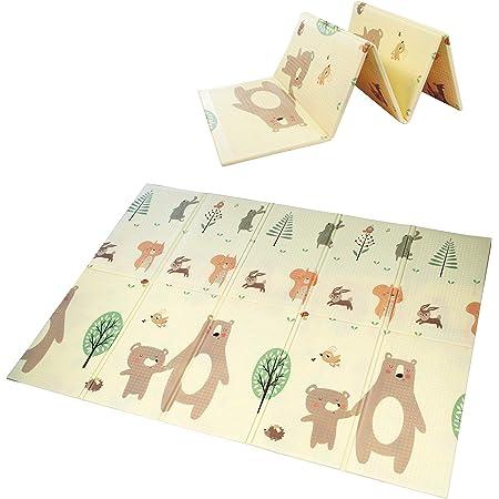Tapis de jeu pour bébé, mousse de tapis de jeu XPE mousse imperméable à l'eau extra large et réversible, tapis de jeu pliable antidérapant(145x195x1cm)