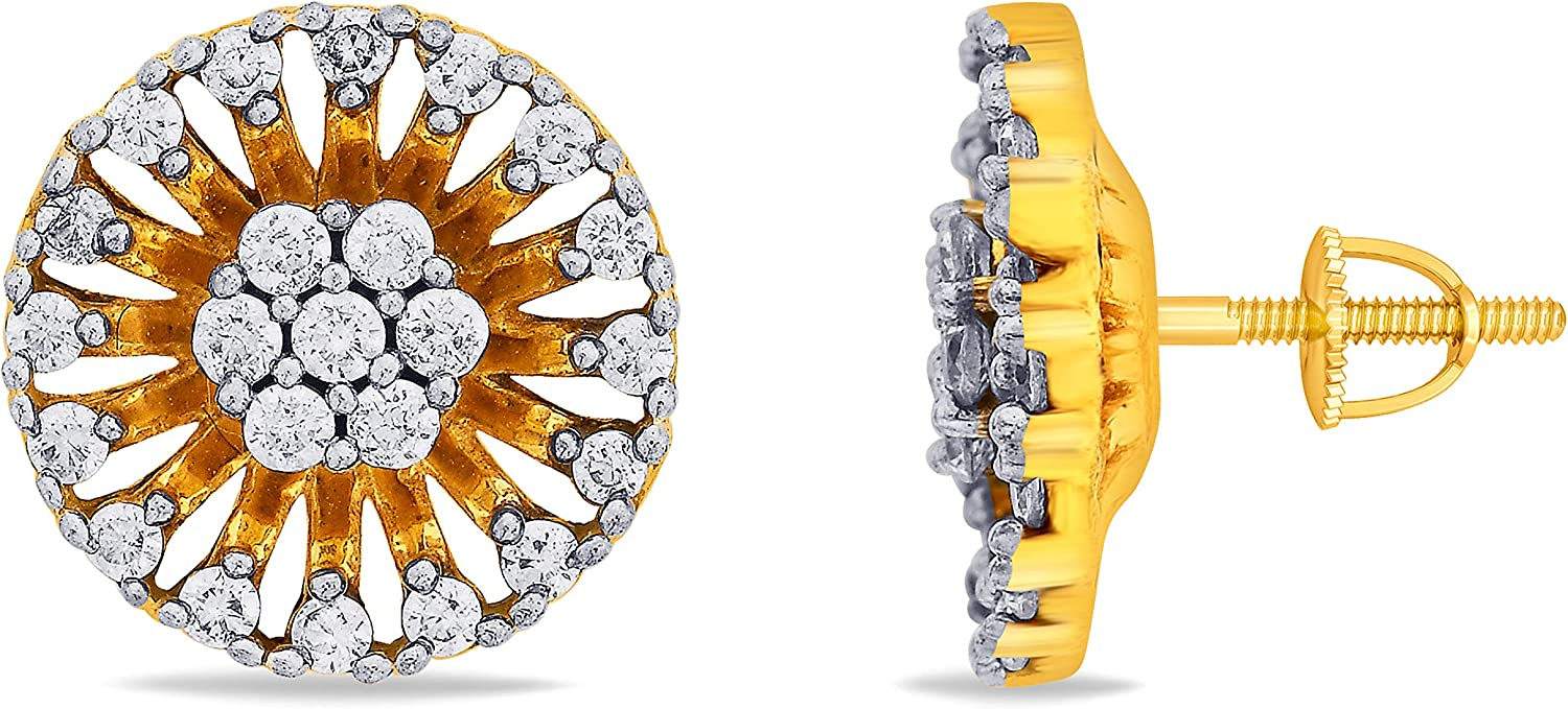 3djewels Women's 0.22 Cts Round Simulated Diamond Floral Disc Earring 14K Yellow gold Plated