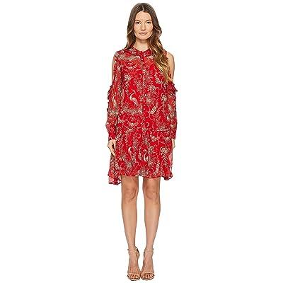 The Kooples Loose Birdy-Print Dress in Silk Muslin (Red) Women