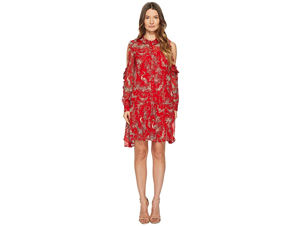 The Kooples Loose Birdy-Print Dress in Silk Muslin (Red) Women