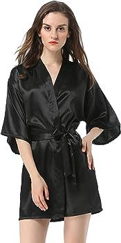SMOOPOP Womens Satin Plain Short Kimono Robe Bathrobe