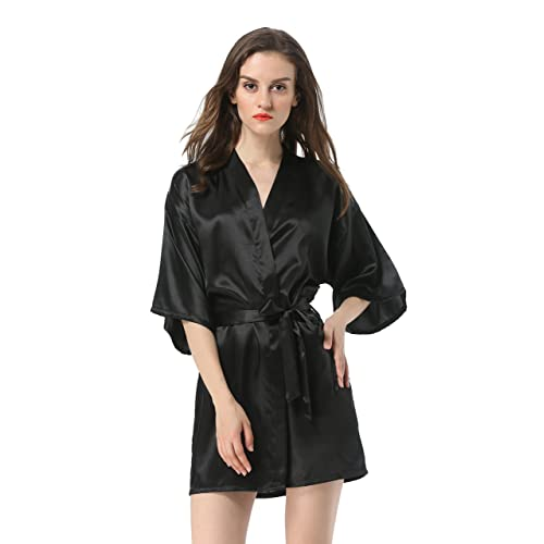 Vogue Forefront Women s Satin Plain Short Kimono Robe Bathrobe cf90ca88c