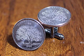 Connecticut Quarter Cuff Links, coin cufflinks, Connecticuit gift, stocking stuffer for men, small novelty present