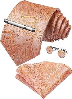 Paisley Tie and Pocket Square Men's Woven Necktie Silk Handkerchief and Cufflink Set