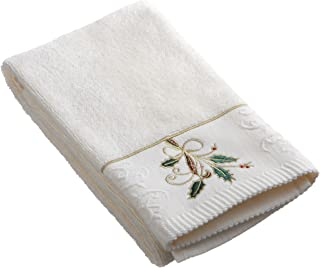 Lenox Ribbon and Holly Embroidered Hand Towel, Ivory