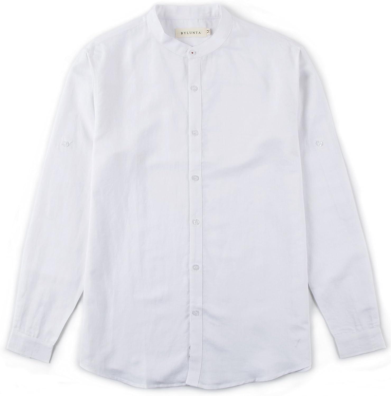 BYLUNTA Men's Max 57% OFF Regular Fit Linen Long Sleeve Causal free Collar Cotton